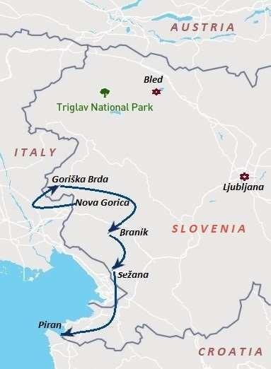 Slowenien Rad und Wein Karte