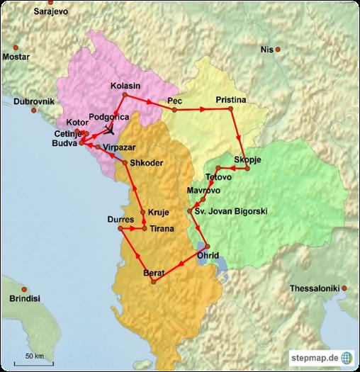 Kotor Montenegro Karte.Montenegro Mazedonien Albanien Rundreise 49 0 40 896909 0