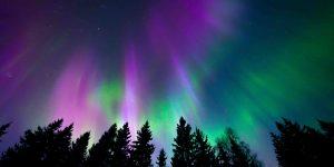 Bild zeigt Polarlichter am Himmel in den Farben lila und grün
