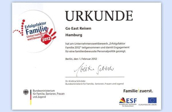 Auszeichnung als familienfreundliches Unternehmen vom Bundesministerium für Familie, Senioren, Frauen und Jugend