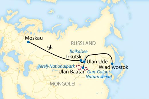 Karte Höhepunkte Sibiriens und Mongolei