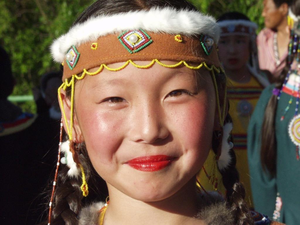 Frau in Jakutien, Russland