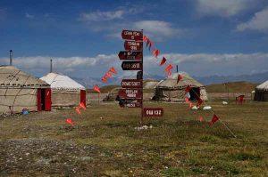 Bild zeigt Wegweiser und Jurten im Basiscamp bei Pamir Gebirge Wanderung