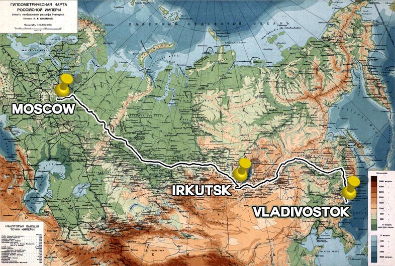 Karte Reiseroute Transsibirische Eisenbahn von Moskau nach Wladiwostok auf der klassischen Route der Transsib.