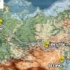 Karte der Reiseroute Siberian Eye von West nach Ost auf der Transsibirischen Eisenbahn