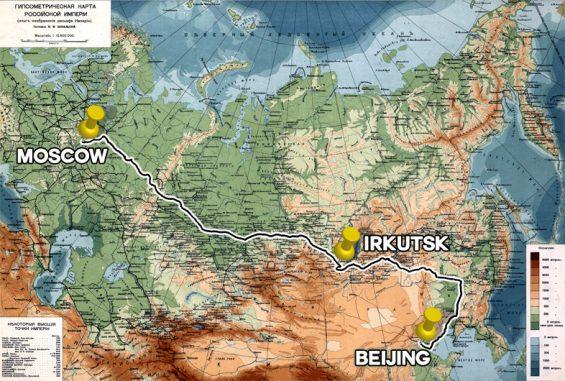 Karte Reiseroute Transsibirische Eisenbahn von Moskau nach Beijing