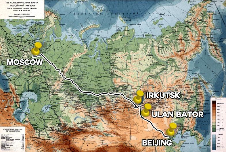 Karte Reiserotue Transsibirische Eisenbahn von Moskau nach Beijing mit Stopp am Baikalsee und Ulan Bator