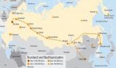 Transsibirische Eisenbahn, Transsib: Ost/West und West/Ost Routen, Landkarte Russland-China-Mongolei