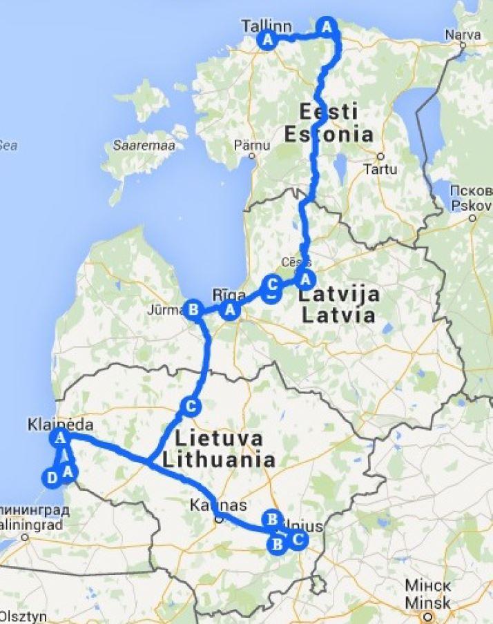 Karte Wanderreise Baltikum