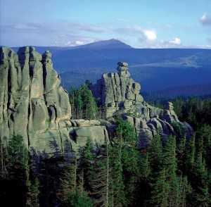 Felsenformation im Nationalpark Gory Stolowe (Heuscheuergebirge).