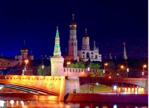 Moskau, Kreml-Ansicht bei Nacht