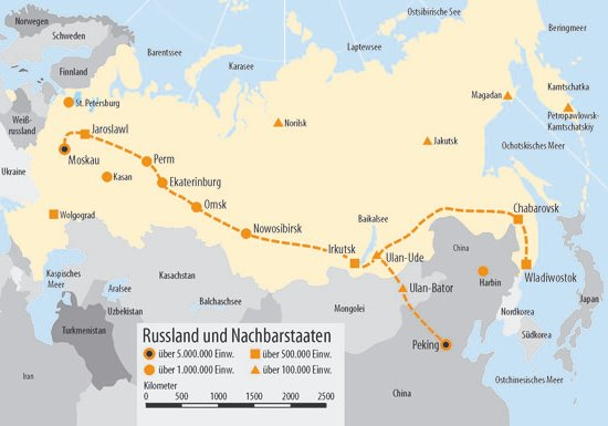 Landkarte Russland,Staedte entlang der Transsibirischen Eisenbahn